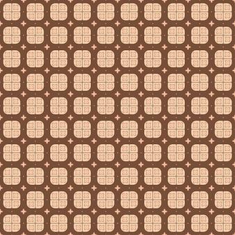 Indonesisch batik naadloos patroon met verschillende motieven javaanse traditionele cultuur, batik kawung in bruine colorway, kan op hele doek worden toegepast