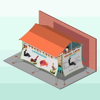 Indonesisch straatvoedsel in isometrisch