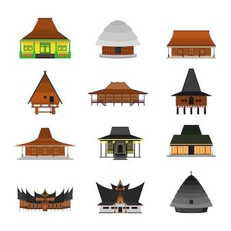 Indonesisch traditioneel huis dat op witte illustratie wordt geïsoleerd als achtergrond