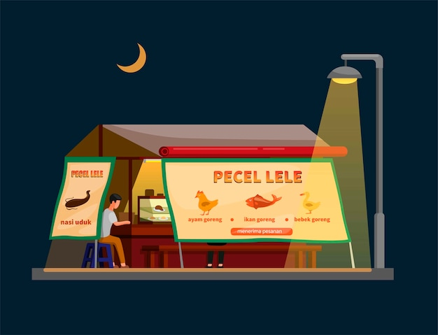 Indonesisch traditioneel straatvoedsel dat meerval gebakken aka pecel lele verkoopt in kraamverkoper in nachtscène illustratie in cartoon
