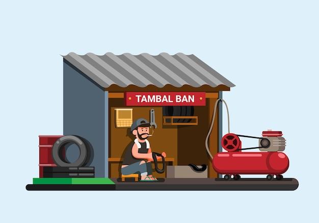 Indonesische bandenreparatiewerkplaats ook bekend als tambal ban