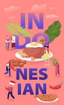Indonesische keuken concept. kleine mannelijke en vrouwelijke personages toeristen en inheemse bewoners die traditionele maleisische maaltijden eten en koken. cartoon vlakke afbeelding
