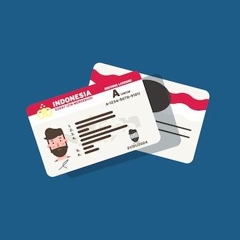 Indonesische rijbewijskaart voor mensen en burgers in flat art design