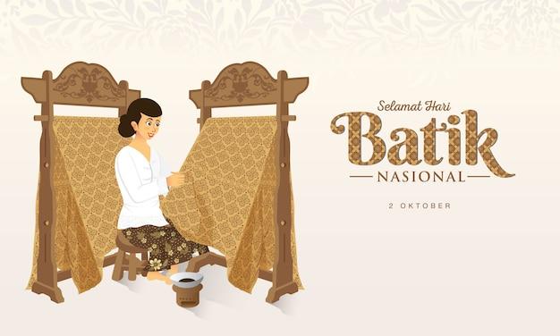 Indonesische vakantie batik dag illustratie. vertaling: