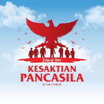 Indonesische vakantie pancasila dag illustratie. vertaling: