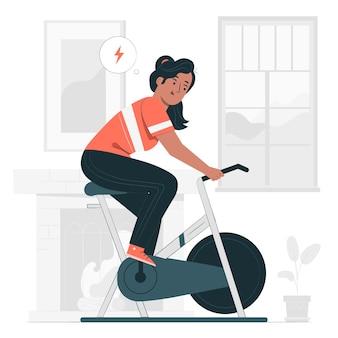 Indoor fiets concept illustratie
