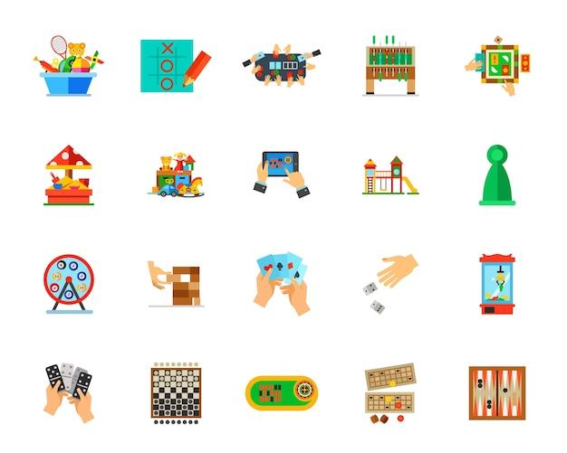 Indoor games icon set