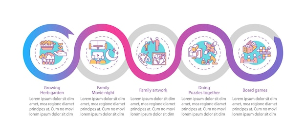 Indoor gezinsactiviteiten infographic sjabloon