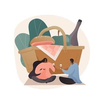 Indoor picknick abstract concept illustratie