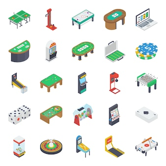 Indoor tafelspellen isometrische pictogrammen