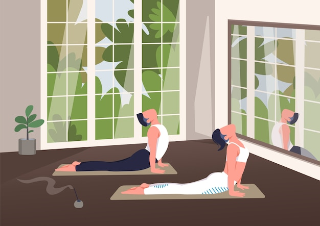 Indoor yoga klasse kleur illustratie