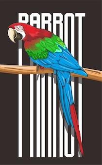 Indrukwekkende papegaaiillustratie