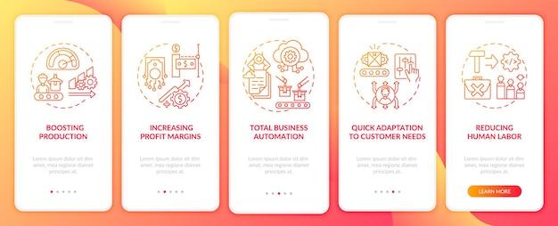 Industrie .0 doelen onboarding mobiele app-paginascherm met concepten. winst verhogen, stappen voor snelle aanpassing. ui-sjabloon