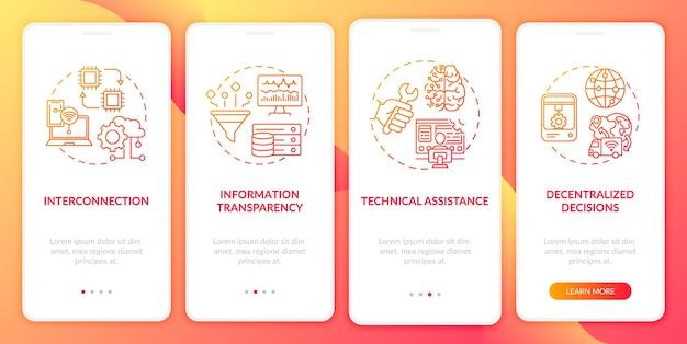 Industrie .0 principes onboarding mobiele app-paginascherm met concepten. info transparantie, technische assistentie doorloop 4 stappen. ui-sjabloon Premium Vector
