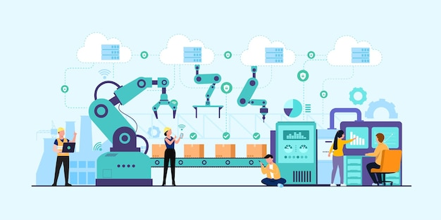 Industrie 4.0-banner met programmeur of menselijke werker en robotarm.
