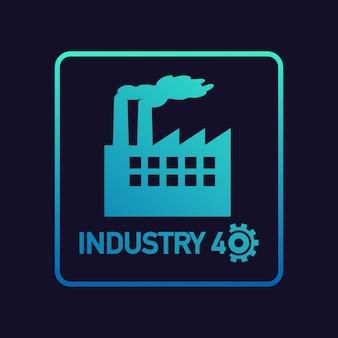 Industrie 4.0. industriële conceptkunst voor de verdere ontwikkeling van moderne fabrieken.