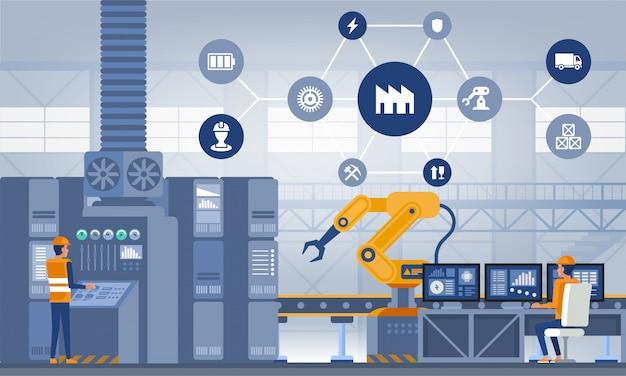 Industrie 4.0 slim fabrieksconcept. technologie vectorillustratie