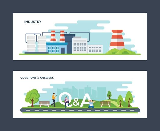 Industrie en vraag & antwoord illustratie
