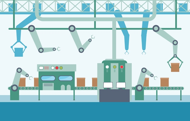 Industrie fabriek concept transportband automatische productie robotachtige assemblage illustratie