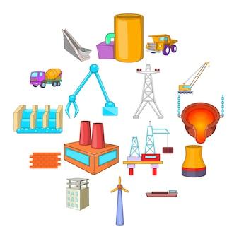 Industrie iconen set, cartoon stijl