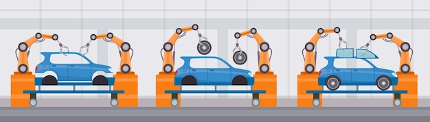 Industrie robotarm assembleert auto's op transportband. autofabriek geautomatiseerde fabricage. platte machine bouw lijn vector concept