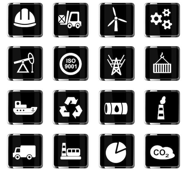Industrie webpictogrammen voor gebruikersinterfaceontwerp Premium Vector
