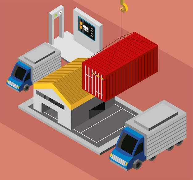 Industriecontainer en magazijn