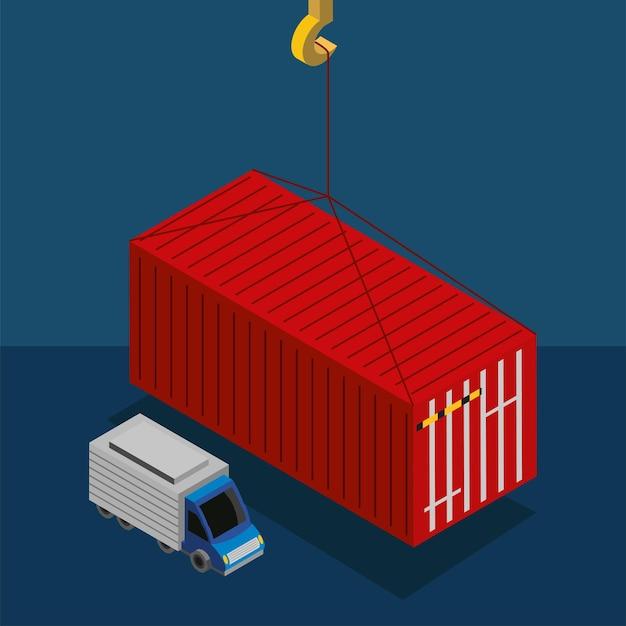 Industriecontainer en vrachtwagen