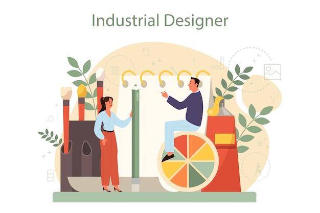 Industrieel er concept. kunstenaar die modern milieuvoorwerp maakt. product bruikbaarheid, fabricage ontwikkeling.