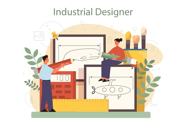 Industrieel er concept. kunstenaar die modern milieuvoorwerp maakt. product bruikbaarheid ontwerp, fabricage ontwikkeling.