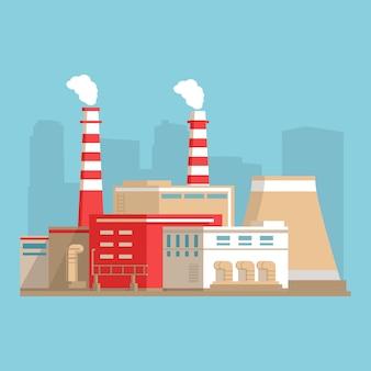 Industrieel fabrieksgebouw. kernenergie in stadslandschap