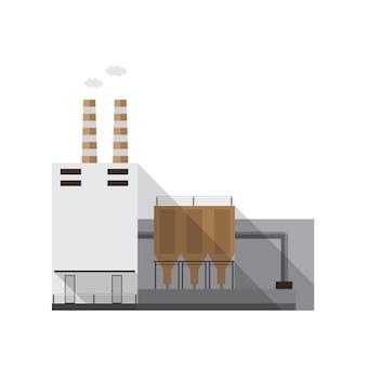 Industrieel fabrieksgebouw met pijpen die gas uitstoten op een witte achtergrond. productielocatie of krachtcentrale van hedendaagse architectuur. cartoon gekleurde vectorillustratie in vlakke stijl.