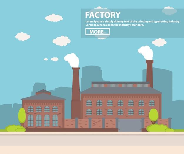 Industrieel fabrieksgebouw met pijpen.