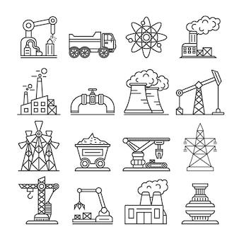 Industrieel gebouw fabriek en elektriciteitscentrale pictogrammen