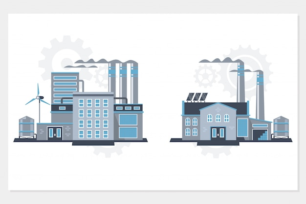 Industrieel gebouw fabriek en elektriciteitscentrales icon set