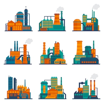 Industrieel gebouw illustratie platte instellen