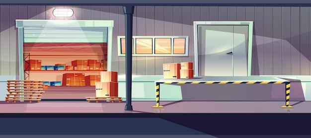 Industrieel magazijn dienst ingangen cartoon met open rollenhekken, laden, lossen ramp