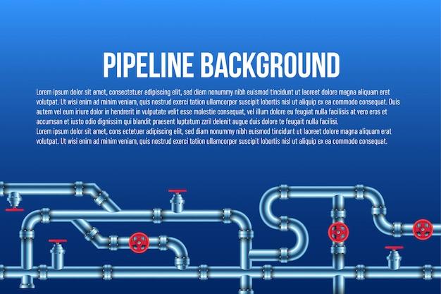 Industrieel olie-, water-, gasleidingsysteem.
