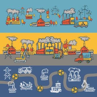 Industrieel schetsbannerontwerp