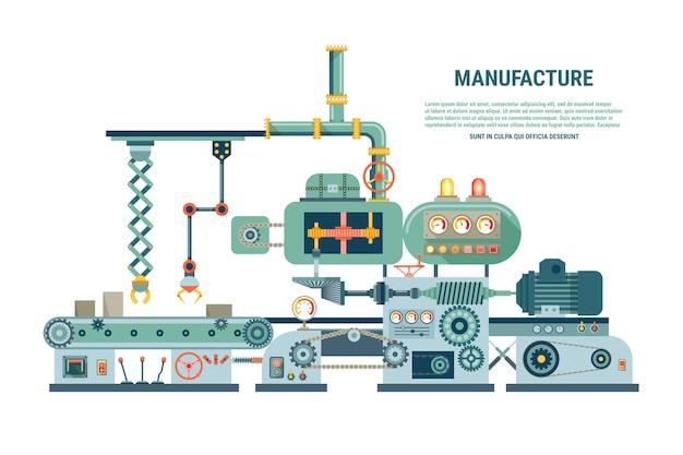 Industriële abstracte machine in vlakke stijl. fabrieksbouwapparatuur, engineering