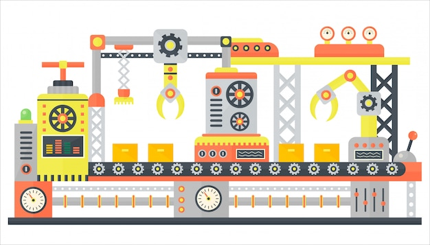 Industriële abstracte transportbandmachine