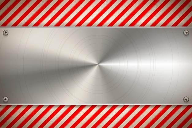 Industriële achtergrond met metalen lege plaat op versleten waarschuwingspatroon met rode en witte strepen