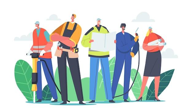 Industriële arbeiders team mannelijke en vrouwelijke personages. bouwer, ingenieur of voorman met tools en blauwdruk. architect met huisplan, lasser, constructeur in helmen. cartoon mensen vectorillustratie