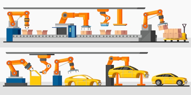 Industriële automatisering robot horizontale banners