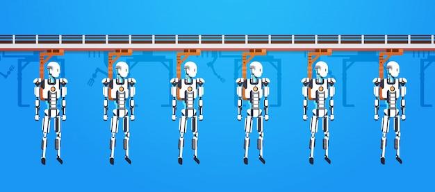 Industriële automatisering robotachtige productielijn en mechanische armen, assemblageproducten, robots