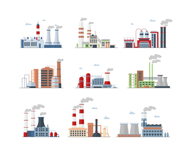 Industriële complexe kleurenpictogrammen instellen. fabrieken geïsoleerde illustraties. fabrieksgebouwen en massaproductie. luchtverontreiniging, leidingen die rook uitstoten, uitstoot van vervuilende gassen