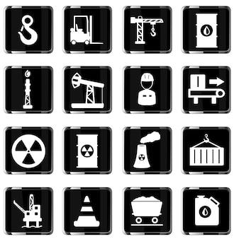 Industriële eenvoudig vector icon set