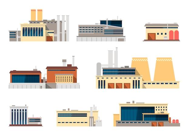 Industriële fabriek en fabrieksinstallatie buiten fla pictogrammen voor de industrieconcept