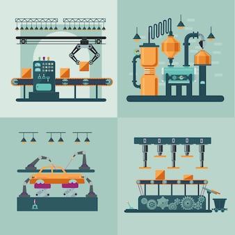 Industriële fabriek interieur vierkant concept