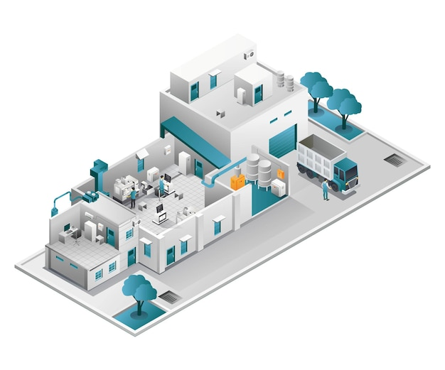 Industriële fabriek met computerruimte en cnc-machine
